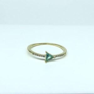 Anel Pedra Turmalina Triangular Folheado a Ouro 18K
