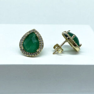 Brinco Gota Pedra Verde Esmeralda Folheado a Ouro 18K