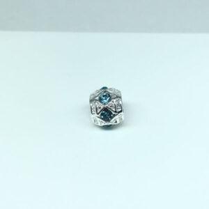 Berloque Separador Pedra Azul Folheado a Prata