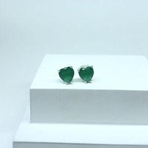 Brinco Coração Verde Esmeralda M Folheado a Prata