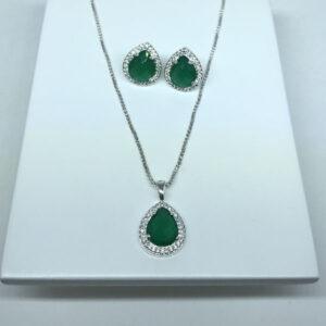 Conjunto de Gota Verde Esmeralda Folheado a Prata