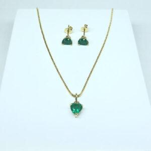 Conjunto Coração Verde Esmeralda Folheado a Ouro 18K