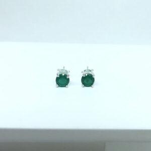 Brinco Verde Esmeralda Folheado a Prata