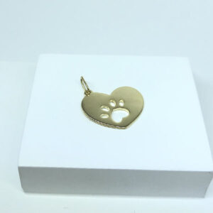 Pingente de Coração Pet Folheado a Ouro 18K