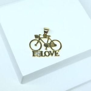 Pingente Bicicleta Folheado a Ouro 18K
