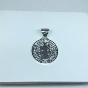 Pingente Medalha São Bento G Folheado a Prata
