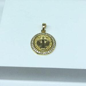Pingente de Medalha São Bento P Folheado a Ouro 18K