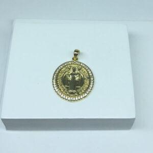 Pingente de Medalha São Bento M Folheado a Ouro 18K