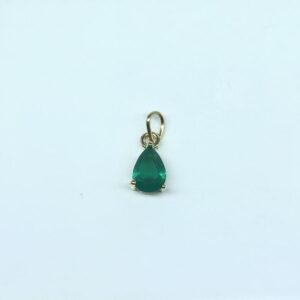 Pingente Gota Verde Esmeralda Folheado a Ouro 18K