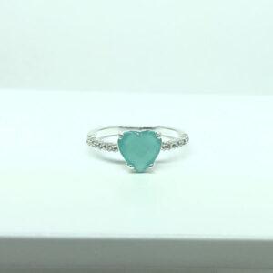 Anel Coração Pedra Azul Leitoso Folheado a Prata