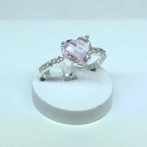 Anel Coração Pedra Rosa Folheado a Prata